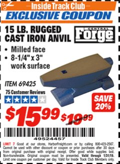 Harbor Freight ITC Coupon 15 LB. RUGGED CAST IRON ANVIL Lot No. 3999/69425 Expired: 1/31/19 - $15.99