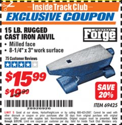 Harbor Freight ITC Coupon 15 LB. RUGGED CAST IRON ANVIL Lot No. 3999/69425 Expired: 3/31/19 - $15.99