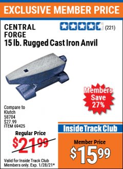 Harbor Freight ITC Coupon 15 LB. RUGGED CAST IRON ANVIL Lot No. 3999/69425 Valid: 1/1/21 1/28/21 - $15.99