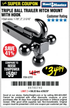 Harbor Freight Coupon TRIPLE BALL TRAILER HITCH MOUNT WITH HOOK Lot No. 62701 EXPIRES: 6/30/20 - $34.99