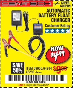 Harbor Freight Coupon AUTOMATIC BATTERY FLOAT CHARGER Lot No. 64284/42292/69594/69955 Expired: 4/6/19 - $4.99