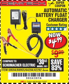 Harbor Freight Coupon AUTOMATIC BATTERY FLOAT CHARGER Lot No. 64284/42292/69594/69955 Expired: 7/14/19 - $4.99