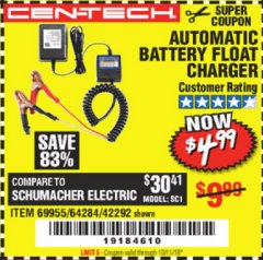 Harbor Freight Coupon AUTOMATIC BATTERY FLOAT CHARGER Lot No. 64284/42292/69594/69955 Valid Thru: 10/1/19 - $4.99