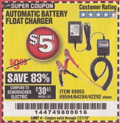 Harbor Freight Coupon AUTOMATIC BATTERY FLOAT CHARGER Lot No. 64284/42292/69594/69955 Expired: 7/27/19 - $0.05