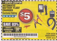 Harbor Freight Coupon AUTOMATIC BATTERY FLOAT CHARGER Lot No. 64284/42292/69594/69955 Valid Thru: 9/19/19 - $5