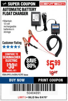 Harbor Freight Coupon AUTOMATIC BATTERY FLOAT CHARGER Lot No. 64284/42292/69594/69955 Expired: 8/4/19 - $5.99