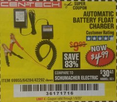 Harbor Freight Coupon AUTOMATIC BATTERY FLOAT CHARGER Lot No. 64284/42292/69594/69955 Valid Thru: 1/9/20 - $4.99