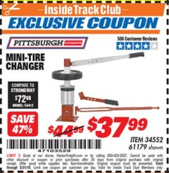 Harbor Freight ITC Coupon TIRE CHANGER Lot No. 34552/61179 Dates Valid: 12/31/69 - 5/31/19 - $37.99