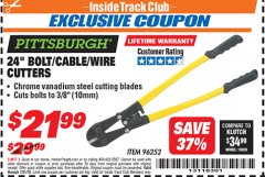 "Harbor Freight ITC Coupon 24"" BOLT/CABLE/WIRE CUTTERS Lot No. 96252 Expired: 7/31/18 - $21.99"