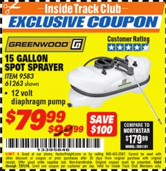 Harbor Freight ITC Coupon 12 VOLT, 15 GALLON SPOT SPRAYER Lot No. 9583/61263 Expired: 7/31/18 - $79.99