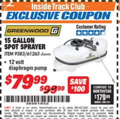 Harbor Freight ITC Coupon 12 VOLT, 15 GALLON SPOT SPRAYER Lot No. 9583/61263 Expired: 10/31/18 - $79.99
