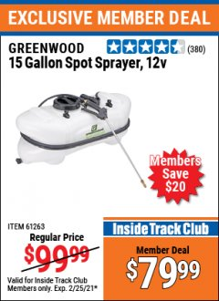 Harbor Freight ITC Coupon 12 VOLT, 15 GALLON SPOT SPRAYER Lot No. 9583/61263 Expired: 2/25/21 - $79.99
