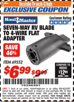 Harbor Freight ITC Coupon SEVEN-WAY RV BLADE TO 4-WIRE FLAT ADAPTER Lot No. 69552 Expired: 9/30/18 - $6.99