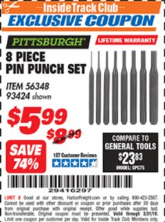 Harbor Freight ITC Coupon 8 PIECE PIN PUNCH SET Lot No. 32959/56348/93424 Expired: 3/31/19 - $5.99