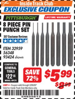 Harbor Freight ITC Coupon 8 PIECE PIN PUNCH SET Lot No. 32959/56348/93424 Expired: 2/29/20 - $5.99