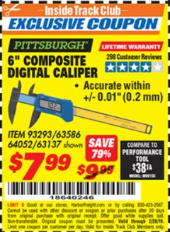 "Harbor Freight ITC Coupon 6"" COMPOSITE DIGITAL CALIPER Lot No. 63137/64052/63586 Expired: 2/28/19 - $7.99"