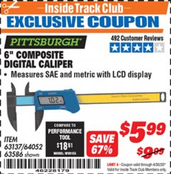 "Harbor Freight ITC Coupon 6"" COMPOSITE DIGITAL CALIPER Lot No. 63137/64052/63586 Expired: 4/30/20 - $5.99"