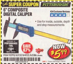 "Harbor Freight Coupon 6"" COMPOSITE DIGITAL CALIPER Lot No. 63137/64052/63586 Expired: 11/30/19 - $5.99"
