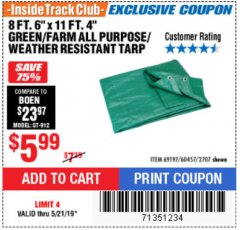 "Harbor Freight ITC Coupon 8 FT. 6"" x 11 FT. 4"" FARM QUALITY TARP Lot No. 2707/60457/69197 Dates Valid: 12/31/69 - 5/21/19 - $5.99"