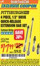 "Harbor Freight ITC Coupon 4 PIECE 1/2"" DRIVE QUICK-RELEASE EXTENSION BAR SET Lot No. 61968/67977 Expired: 7/31/16 - $17.99"
