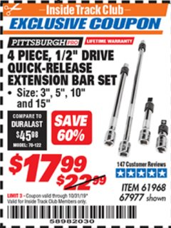 "Harbor Freight ITC Coupon 4 PIECE 1/2"" DRIVE QUICK-RELEASE EXTENSION BAR SET Lot No. 61968/67977 Expired: 10/31/19 - $17.99"