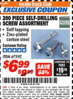 Harbor Freight ITC Coupon 200 PIECE SELF-DRILLING SCREW ASSORTMENT Lot No. 67592 Expired: 9/30/18 - $6.99
