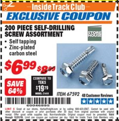 Harbor Freight ITC Coupon 200 PIECE SELF-DRILLING SCREW ASSORTMENT Lot No. 67592 Expired: 12/31/18 - $6.99