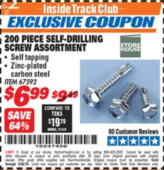 Harbor Freight ITC Coupon 200 PIECE SELF-DRILLING SCREW ASSORTMENT Lot No. 67592 Valid Thru: 4/30/19 - $6.99