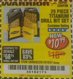 Harbor Freight Coupon 29 PIECE TITANIUM NITRIDE COATED HIGH SPEED STEEL DRILL BIT SET Lot No. 5889/61637/62281 Valid Thru: 1/9/20 - $10.99