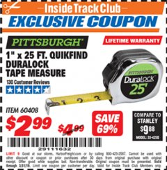 "Harbor Freight ITC Coupon 1"" x 25 FT. QUICKFIND TAPE MEASURE Lot No. 60408 Expired: 3/31/19 - $2.99"