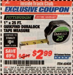"Harbor Freight ITC Coupon 1"" x 25 FT. QUICKFIND TAPE MEASURE Lot No. 60408 Expired: 7/31/19 - $2.99"