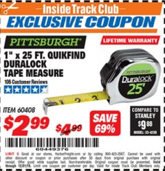 "Harbor Freight ITC Coupon 1"" x 25 FT. QUICKFIND TAPE MEASURE Lot No. 60408 Expired: 12/31/18 - $2.99"