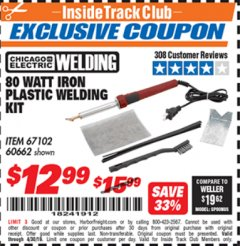 Harbor Freight ITC Coupon 80 WATT IRON PLASTIC WELDING KIT Lot No. 60662 Expired: 4/30/19 - $12.99