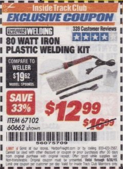 Harbor Freight ITC Coupon 80 WATT IRON PLASTIC WELDING KIT Lot No. 60662 Expired: 6/30/19 - $12.99