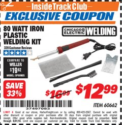 Harbor Freight ITC Coupon 80 WATT IRON PLASTIC WELDING KIT Lot No. 60662 Expired: 8/31/19 - $12.99
