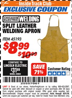 Harbor Freight ITC Coupon SPLIT LEATHER WELDING APRON Lot No. 45193 Expired: 8/31/18 - $8.99