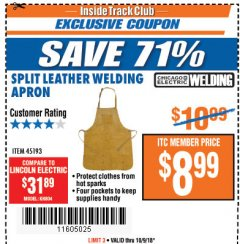 Harbor Freight ITC Coupon SPLIT LEATHER WELDING APRON Lot No. 45193 Expired: 10/9/18 - $8.99