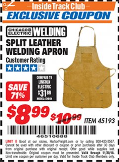Harbor Freight ITC Coupon SPLIT LEATHER WELDING APRON Lot No. 45193 Expired: 11/30/18 - $8.99