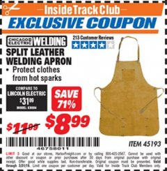 Harbor Freight ITC Coupon SPLIT LEATHER WELDING APRON Lot No. 45193 Dates Valid: 12/31/69 - 5/31/19 - $8.99