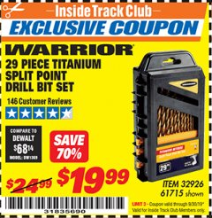 Harbor Freight ITC Coupon 29 PIECE SPLIT POINT TITANIUM NITRIDE COATED DRILL BIT SET Lot No. 32926/61715 Expired: 9/30/19 - $19.99