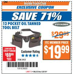 Harbor Freight ITC Coupon 12 POCKET OIL TANNED LEATHER TOOL BELT Lot No. 3452 Expired: 5/8/18 - $19.99