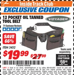 Harbor Freight ITC Coupon 12 POCKET OIL TANNED LEATHER TOOL BELT Lot No. 3452 Expired: 4/30/19 - $19.99