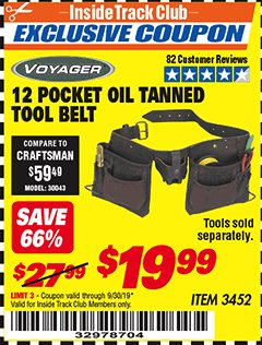 Harbor Freight ITC Coupon 12 POCKET OIL TANNED LEATHER TOOL BELT Lot No. 3452 Expired: 8/30/19 - $19.99
