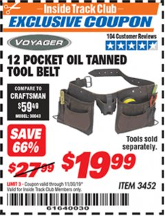 Harbor Freight ITC Coupon 12 POCKET OIL TANNED LEATHER TOOL BELT Lot No. 3452 Expired: 11/30/19 - $19.99