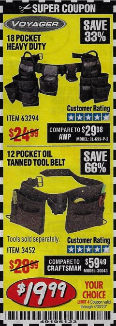 Harbor Freight Coupon 12 POCKET OIL TANNED LEATHER TOOL BELT Lot No. 3452 EXPIRES: 6/30/20 - $19.99