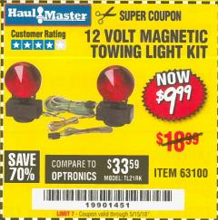 Harbor Freight Coupon 12 VOLT MAGNETIC TOWING LIGHT KIT Lot No. 62517/62753/67455/69626/69925/63100 Expired: 5/15/18 - $9.99