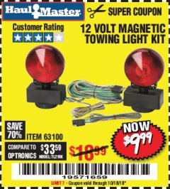 Harbor Freight Coupon 12 VOLT MAGNETIC TOWING LIGHT KIT Lot No. 62517/62753/67455/69626/69925/63100 Expired: 10/18/18 - $9.99