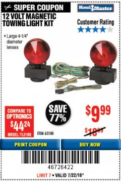 Harbor Freight Coupon 12 VOLT MAGNETIC TOWING LIGHT KIT Lot No. 62517/62753/67455/69626/69925/63100 Expired: 7/22/18 - $9.99