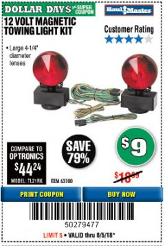 Harbor Freight Coupon 12 VOLT MAGNETIC TOWING LIGHT KIT Lot No. 62517/62753/67455/69626/69925/63100 Expired: 8/5/18 - $9