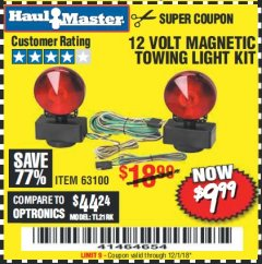 Harbor Freight Coupon 12 VOLT MAGNETIC TOWING LIGHT KIT Lot No. 62517/62753/67455/69626/69925/63100 Expired: 12/1/18 - $9.99